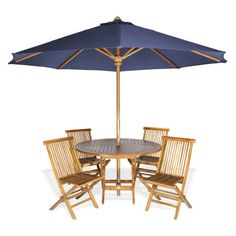 Outdoor All Things Cedar Round 5 Piece Patio Dining Set with Umbrella - TT6P-R-B
