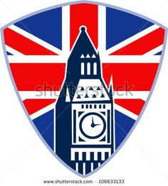 Retro illustration of a runner sprinter running sprinting viewed from side with union jack Great Britain British flag set inside shield on isolated white background. - stock vector #bigben #retro #illustration