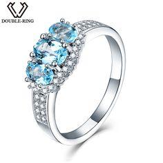DOUBLE-R Fashion 0.87ct Natural Blue Topaz Pendant For Women 925 Sterling Silver 2017 Vintage Fine Jewelry Necklaces & Pendants #Affiliate