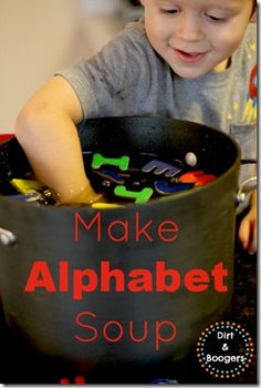 Make Alphabet Soup A fun way to practice letters and math skills. You could possibly put magnetic letters in and go fishing for the alphabet- how fun! Preschool Literacy, Preschool Letters, Early Literacy, Literacy Activities, Kindergarten, Preschool Language Activities, Indoor Activities, Summer Activities, Family Activities