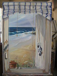 Fenêtre+ouverte+sur+la+mer. Sea Murals, Wall Murals, Wall Art, Window View, Window Art, Mural Painting, Paintings, Sea Art, Fantasy Landscape