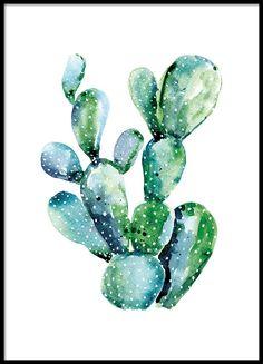 Watercolor cactus, posters in de groep Posters / Afmetingen / 21x30cm bij Desenio AB (8386)