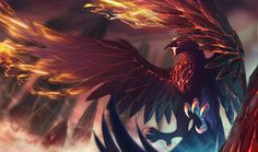 [Riot Art Contest] - Anivia Volcanic Rebirth - League of legends Mythical Creatures Art, Magical Creatures, Fantasy Creatures, Phoenix Artwork, Phoenix Drawing, Fantasy Monster, Monster Art, Anivia League Of Legends, Fantasy Beasts
