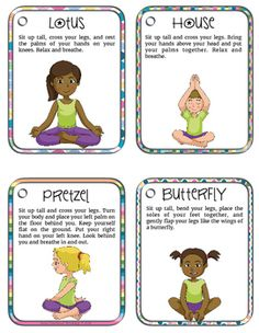 20 printable cards showing yoga positions for kids