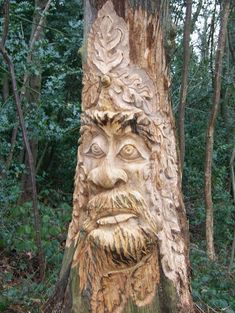 Tree Carvings | Tree Carving of Green Man