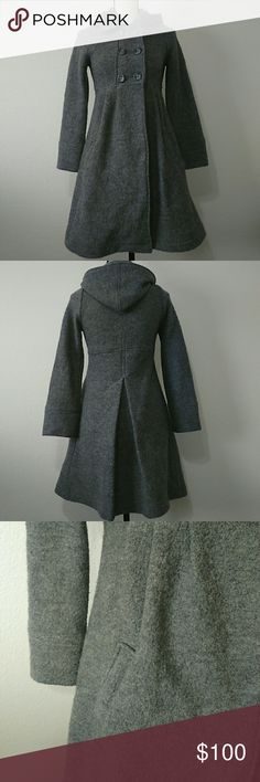"Zara 100% Wool Grey Hooded Pea Coat Zara hooded long pea coat. 100% wool material in size small in the color grey.  Measurements Sleeve 22.75"" Length 34.25"" Chest 16.5"" Zara Jackets & Coats Pea Coats"
