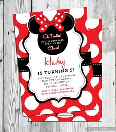 Minnie Mouse Birthday Invitations | Printable Girls Party Invitation | Minnie Inspired | Black Red White Polka Dots | FREE Backside