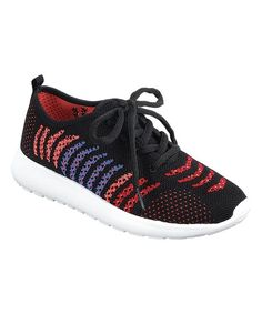 Black & Red Stripe Riancy Sneaker - Toddler & Girls