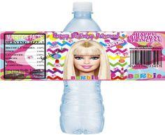BARBIE Printable Water Bottle Labels, Printable Barbie Water Labels, Barbie, DIY water bottle labels, Barbie Water Labels Instant Download