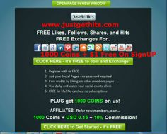Instant facebook likes, youtube views, twitter followers, traffic, pinterest pins, Banners and others at http://justgethits.com