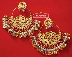 Hand Made 24 ct. Gold Plated Traditional Punjabi Jewellery Morewali Earrings Jhumka J0216