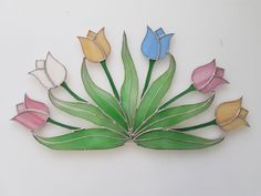 Tulips Stained Glass Quilt, Stained Glass Ornaments, Stained Glass Suncatchers, Faux Stained Glass, Stained Glass Lamps, Stained Glass Designs, Stained Glass Panels, Stained Glass Projects, Stained Glass Patterns