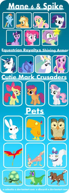 MLP Characters (The Phoenix and the thing next to it is the same thing)