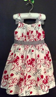 Janie Jack Boutique Fourth 4th July Girls 4 T 4T Twirling Dress Red Tulips