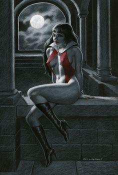 Vampirella - Black Board #3, Greg Hildebrandt Comic Book Artists, Comic Book Characters, Comic Books, Fictional Characters, Character Personality, Red Costume, Horror Comics, Adam And Eve, Fantasy Women