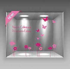 Vetrina Vetrofania Vetrofanie Primavera Nuovi Arrivi Fiori Farfalle Saldi Estate • EUR 14,00