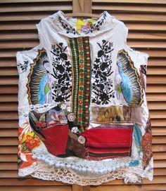 MyBonny embroidery bullfighter  Virgin de Guadalupe Southwestern quilting scraps flowers red leather Hawaiian ethnic / mirrors American patchwork crochet pompoms tulle cape/shawl surfboards vintage linen Asian silk bird Parisian: Eiffel bark cloth etc  Machine and hand sewn. I created a little shawl, as seen.