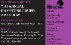 SUBMIT ART by FEB 29 for an opportunitt to show @RJDgallery.  PLS. PIN - for THE RETREAT