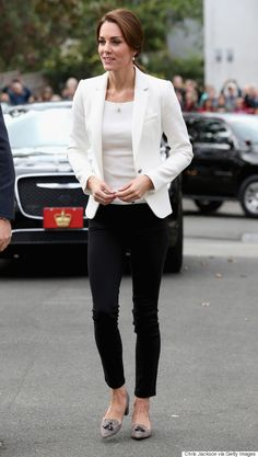 Kate Middleton Slayed. Every. Single. Look On The Canada Royal Visit. The Duchess wore a white blazer and dark pants from Zara, a ribbed, cream H&M top and finished with tweed J. Crew heels.