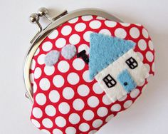 Coin+purse+blue++house+on+red+polka+dots+by+oktak+on+Etsy,+$36.00