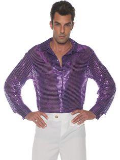 783125be778f4 Men s 70s Purple Sequin Disco Costume Shirt  HalloweenCostumes   CostumesforMen  CoolCostumes Disco Costume
