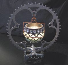 How do you like this candle holder made from #recycled bike parts?