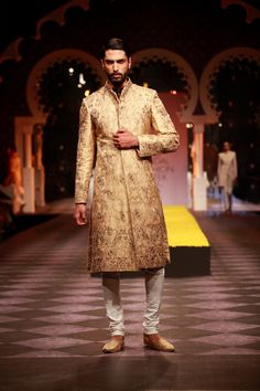 Golden men's wedding sherwani Raghavendra Rathore Aamby Valley Bridal Week 2013 Mumbai