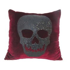 Why leave the Halloween decor to just the outside, when you bring it inside with this cozy Red Velvet Sequin Skull Pillow! This throw pillow features a smiling glittering black skull on a gorgeous red velvet background. Gothic Interior, Interior Design, Skull Pillow, Gothic Furniture, Skull Furniture, Gothic Aesthetic, Sequin Pillow, Pillow Room, Black Skulls