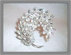 "Sherman Clear Color 2"" Tiered Double Curved Leaf Brooch 