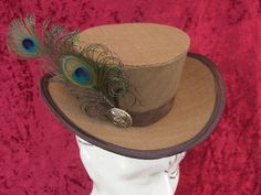 Western Promise - beautiful handmade 3/4 tweed riding top hat hatinator for Steampunk Victorian Rockabilly Burlesque or bridal. $99.00, via Etsy.