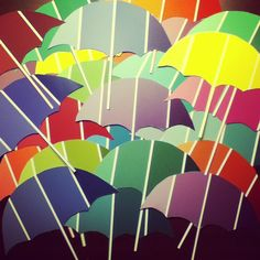 Umbrella door decs made out of paint swatches!