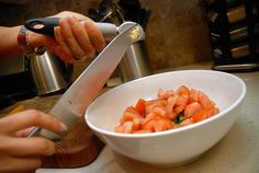 the garlic piece into the mixing bowl. Fava Beans, Green Onions, Shrimp, Chili, Garlic, Meat, Food, Chile, Spring Bulbs