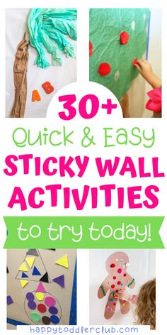 sticky wall activities to keep your toddler entertained! These easy sticky wall activities for toddlers are perfect for independent sensory play. Toddler Sensory Bins, Toddler Preschool, Toddler Crafts, Toddler Learning, Toddler Stuff, Kid Crafts, Activity Toys, Sensory Activities, Sensory Play