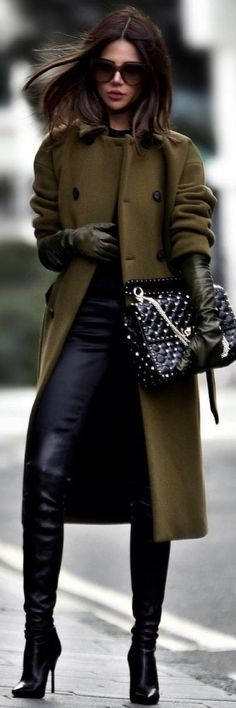 Black & Dark Olive Coat .