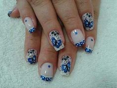 DECORATED WITH NAILS BLUE Gel Designs, Toe Nail Designs, Acrylic Nail Designs, Acrylic Nails, Hair And Nails, My Nails, Easter Nail Designs, Nail Envy, Blue Nails