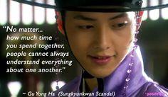Sungkyunkwan Scandal quote : Song Joong Ki as Gu Yong-ha (Yeo-rim) Life Truth Quotes, K Quotes, Glee Quotes, Scandal Quotes, Scandal Abc, Arrow Tv Shows, Jin Dad Jokes, Song Joon Ki, Sungkyunkwan Scandal