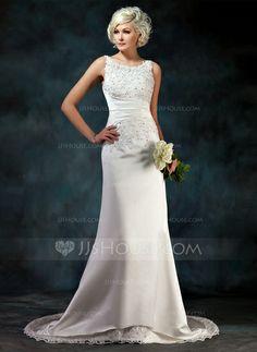 Wedding Dresses - $189.99 - A-Line/Princess Scoop Neck Court Train Satin Wedding Dress With Lace Beadwork Sequins (002004594) http://jjshouse.com/A-Line-Princess-Scoop-Neck-Court-Train-Satin-Wedding-Dress-With-Lace-Beadwork-Sequins-002004594-g4594?ver=xdegc7h0