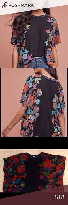 Anthropologie t-shirt, day of the dead, S, M, L Anthropologie t-shirt, day of the dead print. Amazing colors. Says its XS/S. There is no way. For sure could fit a M or L as well. Anthropologie Tops Tees - Short Sleeve