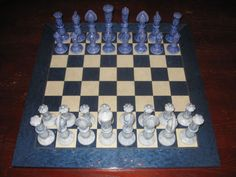 "5.5 Inch King 5.25 Queen Ceramic Chess Pieces 22"" Wooden Board Blue & Ivory Set"