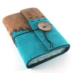 Stitches Leather Journal Notebook Diary by Kreativlink on Etsy. Made with turquoise and brown suede.  The leather is sewn on felt and filled is this softcover journal with acrylic-stained paper, hand torn and carefully bound with strong linen thread.