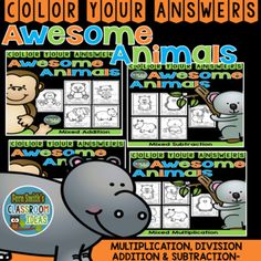 Very high interest and wonderful for small group, RTi, tutoring, morning work, seat work, centers, you name it! 20 Awesome Animals Color Your Answers Worksheets for Mixed Addition, Subtraction, Multiplication and Division, Color By Code Bundle with 20 Color Coded Answer Keys. This Adorable Resource has * Five Mixed Multiplication pages. * Five Mixed Division pages. * Five Mixed Multiplication pages * Five Mixed Division pages and * 20Color Coded Answer Keys. #FernSmithsClassroomIdeas