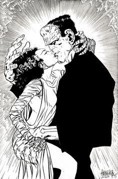 Frankenstein Monsters Kiss by garnabiuth.deviantart.com on @DeviantArt