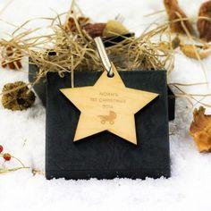 Engraved Maple Wood Star Pram 1st Christmas Decoration