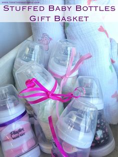 Stuffed Baby Bottles Gift Basket is a great gift idea for a baby shower!