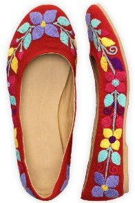 Guie Shoes Red Cherry Hand Embroidered Ballet Flats