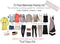 """15 Piece Maximista Packing List"" by travelfashiongirl ❤ liked on Polyvore"
