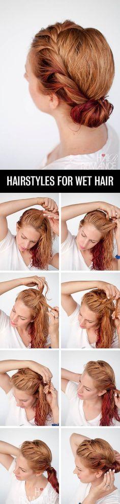 Haz una trenza de corona con el cabello húmedo y enróllala en un moño.