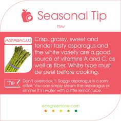 #Seasonal #FoodTips Have you tried the white #Asparagus? -- #May #food #kitchentip #inseason