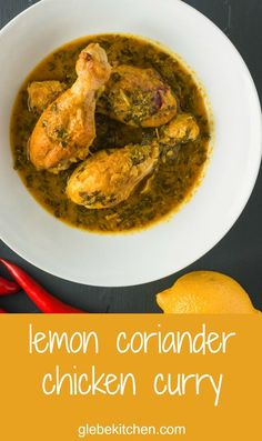 Lemon coriander chicken curry is a bright tasting Indian curry that's big on flavour.