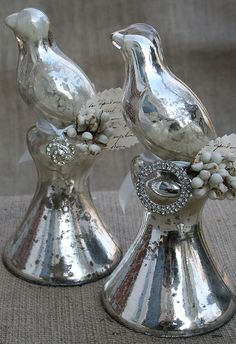 mercury glass birds